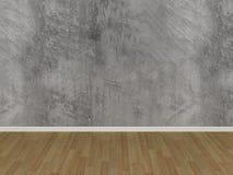 Pavimento di legno e del muro di cemento in una stanza vuota Immagine Stock