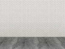 Pavimento di legno e del muro di mattoni Immagine Stock Libera da Diritti