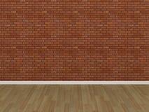 Pavimento di legno e del muro di mattoni Fotografie Stock Libere da Diritti