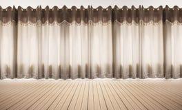 Pavimento di legno e parete bianca con le tende, spazio vuoto interno immagini stock