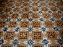 Pavimento di marmo intarsiato modello indiano di stile nel vecchio palazzo del Ragiastan, India Fotografia Stock Libera da Diritti