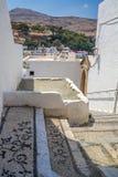 Pavimento di mosaico di Lindos in Rhodes Island Rodos Aegean Region, Gree immagine stock libera da diritti