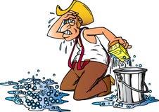 Pavimento di pulizia del cowboy Fotografia Stock