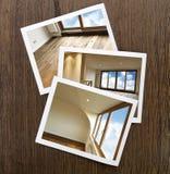 Pavimento e finestre Polaroid-Di legno Fotografia Stock