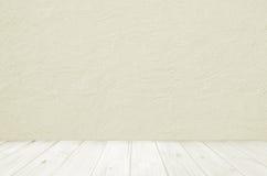 Pavimento e parete di legno leggeri con intonacare concreto Fotografia Stock