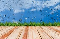 Pavimento ed erba di legno con goccia di acqua sugli ambiti di provenienza del cielo blu Immagini Stock Libere da Diritti