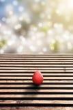 Pavimento ed uovo di Pasqua di legno con bokeh idilliaco fotografie stock