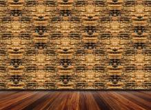 Pavimento interno e di legno del mattone Fotografia Stock Libera da Diritti