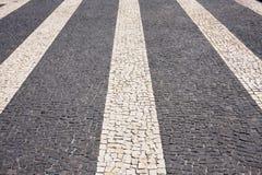 Pavimento ornamental con las tiras de Madeira Fotos de archivo