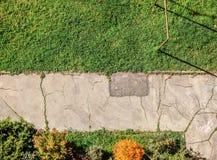 Pavimento rachado velho com gramado verde e os arbustos pequenos ao redor Vista de cima de, balcão no assoalho alto horizontalmen fotografia de stock royalty free