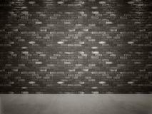 Pavimento scuro del calcestruzzo e di Gray Black Brick Wall Fotografie Stock Libere da Diritti