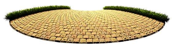Pavimento semicircular de la piedra amarilla con la hierba en los bordes 3 stock de ilustración