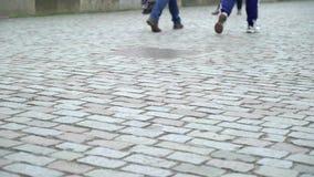 Pavimento velho do cobblestone video estoque