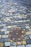 Pavimento viejo de la ciudad Imagen de archivo libre de regalías