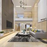 pavimento vivente doppio moderno di lusso della rappresentazione 3d con sala da pranzo illustrazione vettoriale