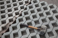 Paving blocks and mallet  Stock Image
