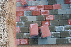 Paving the brick road Stock Photos