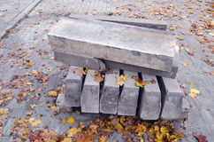 Paving concrete blocks in pile for  repair of  pavement Royalty Free Stock Image