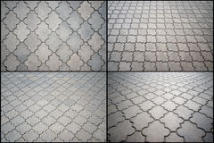 Paving from figured tiles.   Four options. Royalty Free Stock Photo