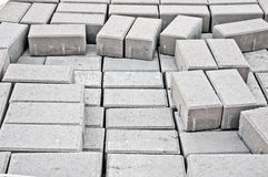 Paving sidewalks gray stone blocks Stock Photography