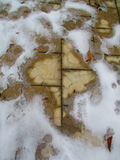 Paving slab covered with melted snow Royalty Free Stock Photography