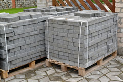 The paving slabs added in stacks.  Royalty Free Stock Image