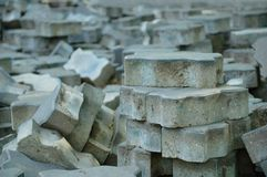 Paving slabs scattered on the ground. royalty free stock photo