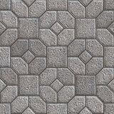 Paving Slabs. Seamless Tileable Texture. Granular Gray Pavement in the Form of Hexagons as Petals Around the Square. Seamless Tileable Texture Stock Images