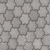 Paving Slabs. Seamless Tileable Texture. Gray Figured Pavement in the Form of Flower with Six Petals. Seamless Tileable Texture Royalty Free Stock Images
