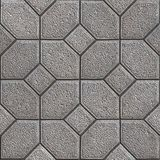 Paving Slabs. Seamless Tileable Texture. Gray Granular Pavement of Four Hexagons Around the Square. Seamless Tileable Texture Stock Image