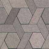Paving Slabs. Seamless Tileable Texture. Gray Pavement Consisting of Combined Quadrangle and Hexagons. Seamless Tileable Texture Stock Image