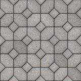 Paving Slabs. Seamless Tileable Texture. Gray Pavement of Four Hexagons Around the Square. Seamless Tileable Texture Stock Photo