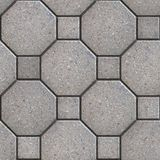 Paving Slabs. Seamless Tileable Texture. Gray Square and Octagon Pavements. Seamless Tileable Texture Royalty Free Stock Photography