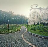 Paving stone lane to ancient monastery Pechersk Lavra, Kiev Royalty Free Stock Photos