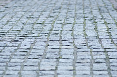 Paving stone road gray road stock photo