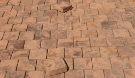 Paving stones beeing layed. Patterns of paving stones Royalty Free Stock Photos