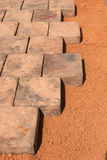 Paving stones beeing layed Stock Photo