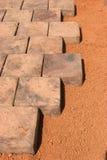 Paving stones beeing layed stock photo