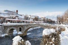 Paving stones bridge and bistrica river of prizren, Kosovo stock photo