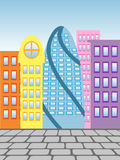 Paving stones and houses. Colorful city on the background of blue sky vector illustration