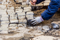 Paving stones are laid Stock Images