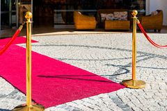 Paving stones and red carpet. For VIP guests Royalty Free Stock Photos