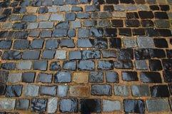 Paving stones. Stone blocks wet it is large Royalty Free Stock Photography