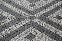 Paving stones street with pattern stock photos