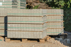 Paving stones on a wooden pallet. Stock Photo