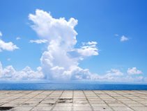 Paving tile floor with cloud and sky Royalty Free Stock Photos
