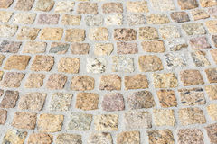 Paving works with granite stones Stock Photo