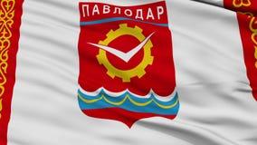 Closeup Pavlodar city flag, Kazakhstan. Pavlodar closeup flag, city of Kazakhstan, realistic animation seamless loop - 10 seconds long stock video footage
