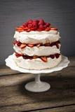Pavlova, ένα βαλμένο σε στρώσεις κέικ μαρέγκας με τα φρούτα και κτυπημένη κρέμα Στοκ εικόνα με δικαίωμα ελεύθερης χρήσης
