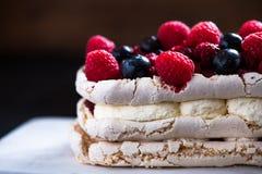 Pavlova με τα φρούτα μούρων Στοκ εικόνα με δικαίωμα ελεύθερης χρήσης